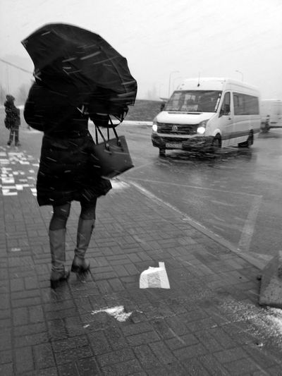 Rear view of person with umbrella walking on wet street
