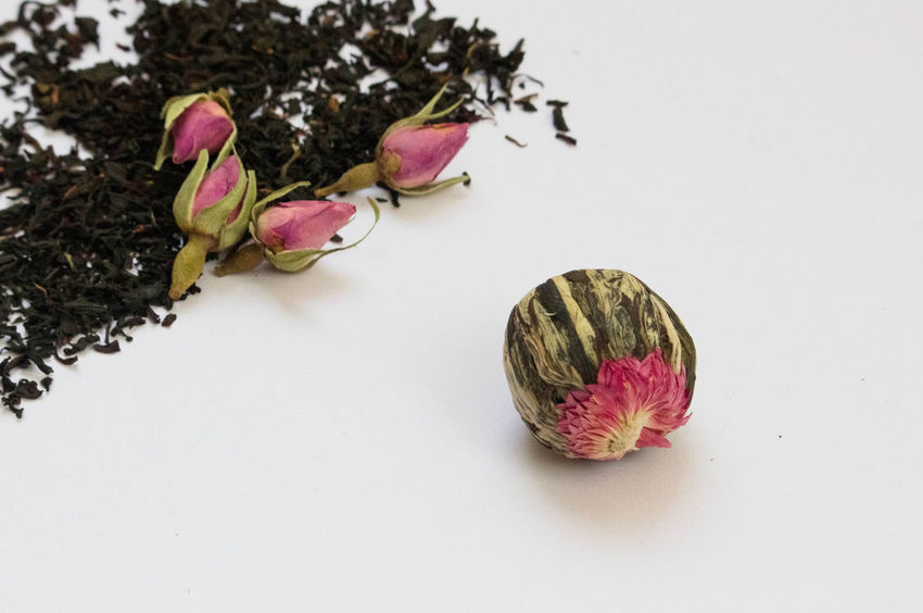 Rosebud Tea White Tea Beauty In Nature Close-up Copy Space Flower Flower Head Flowering Plant Food Food And Drink Fragility Freshness High Angle View Indoors  Nature No People Petal Pink Color Plant Still Life Studio Shot Vulnerability  White Background