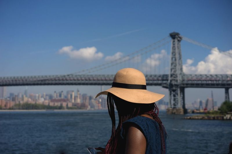 A throwback from the New York visit... Hat Williamsburg Bridge Sunny Day On The River East River NYC
