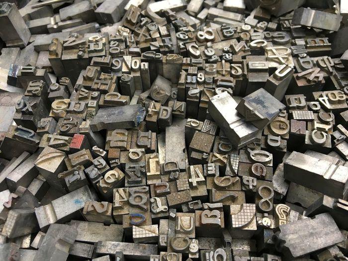 Full frame shot of printing blocks