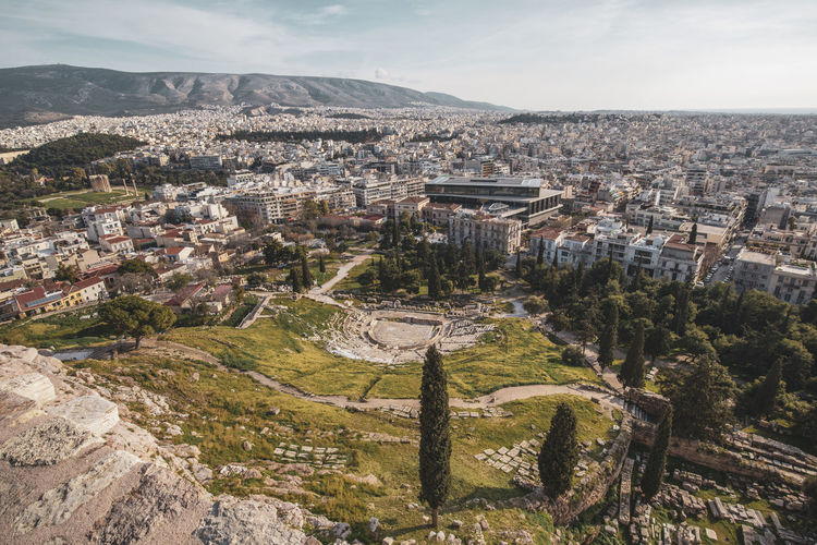 Acropolis Athens Greece Acropolis Built Structure Building Exterior Architecture City Residential District High Angle View Cityscape Building Mountain Sky Environment Nature Day Landscape No People Scenics - Nature Cloud - Sky Town Plant Outdoors TOWNSCAPE