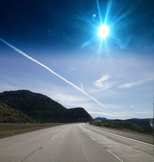 Blue Sky Contrails Or Chemtrails Mountain Pass Eyemphotography Driving Glistening Sun