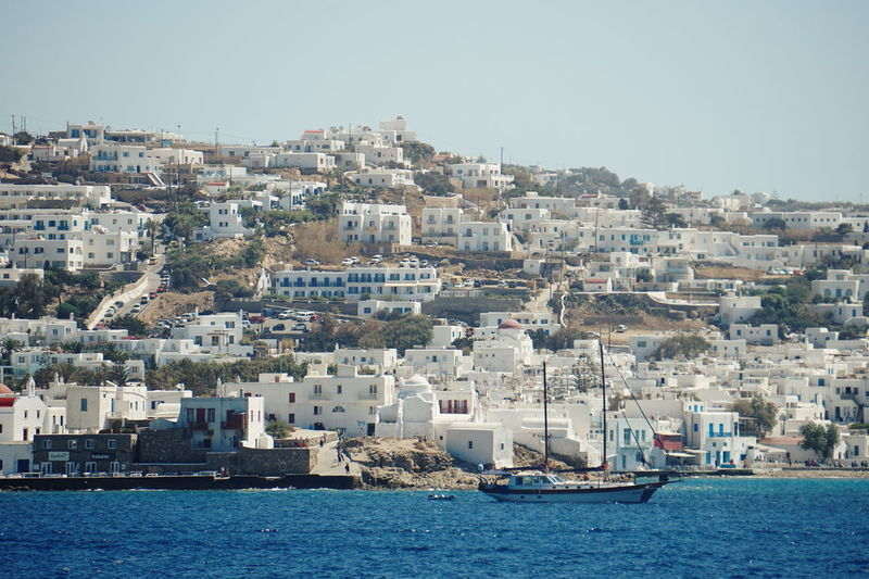 Mykonos town seen from ferry Greek Islands Mykonos Island Mykonos Town Mykonos,Greece Architecture Building Exterior Built Structure City Cityscape Clear Sky Day Greece Mykonos Mykonostown Nature Nautical Vessel No People Outdoors Residential Building Sea Sky Town View Into Land Water Waterfront