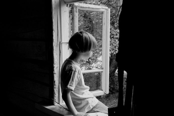 Window Indoors  One Person People Child Children Only Day Summer Sitting Alone Sitting On The Window Lonely Black And White Blooming From The Back Farmstead Hollidayseason Countryside Country Life Boy Alone Sommergefühle Breathing Space