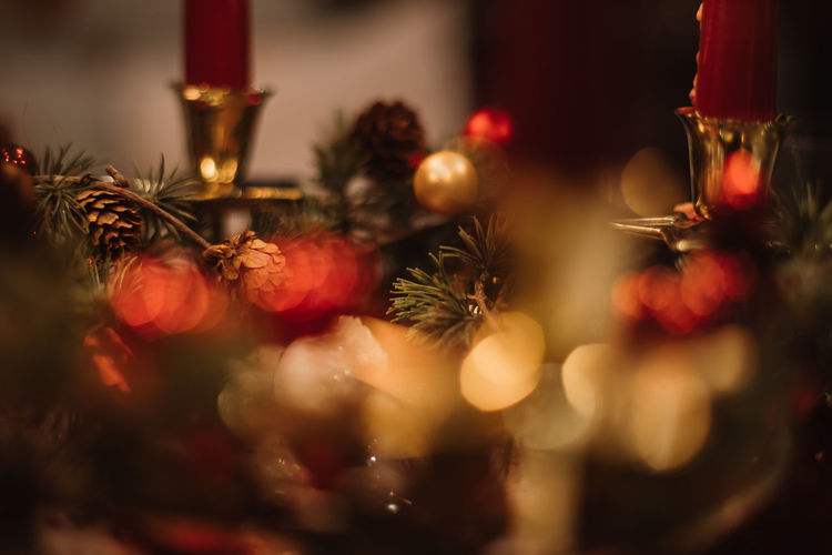 Christmas decoration Background Holiday Christmas Celebration Decoration Christmas Decoration christmas tree Christmas Ornament Illuminated Tree Selective Focus Red Christmas Lights Indoors  No People Holiday - Event Close-up Religion Candle