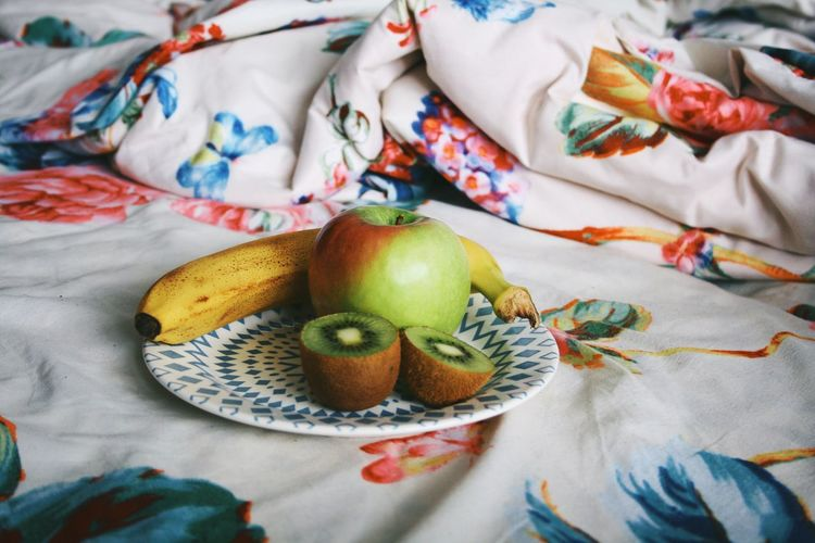 Fresh fruit Textile Multi Colored Indoors  Bed High Angle View Still Life No People Linen Creativity Variation Art And Craft Pattern Food And Drink Choice Sheet Bedroom Representation Furniture Close-up Animal Representation