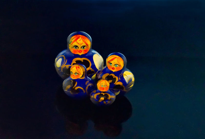 Russian Hollow Wooden Dolls Blue Close-up Dolls Matryoshka Multi Colored Russian Studio Shot
