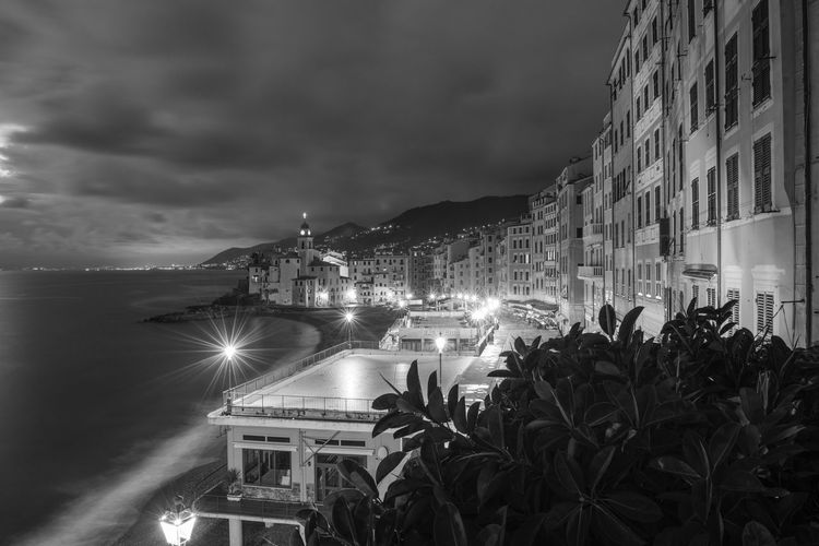 Architecture Building Exterior Sky Built Structure Cloud - Sky Sea Outdoors Mode Of Transport Transportation Travel Destinations Palm Tree Illuminated Night No People Nature Nautical Vessel Water City Beauty In Nature Tree Camogli Italia Tourism Tranquil Scene Liguria, Italy Black And White Long Exposure