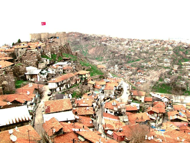 Ankara Taking Photos Poor Places. Ankarakalesi Turkey Ankara Turkish Flag Slum Shanti Wind View