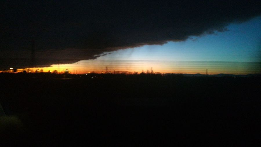 ~ Viajando ~ Bytrain Black Background Orange Sky Blue Sky Night Silhouette Outdoors Landscape No People Sky