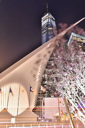 New York Manhattan New York New York City WTC Architecture Building Building Exterior Built Structure City Financial District  Illuminated Modern Night No People Office Building Exterior Outdoors Sky Skyscraper Tall - High Tower Travel Destinations World Trade Center