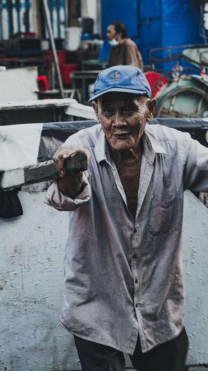 Portrait of man on street