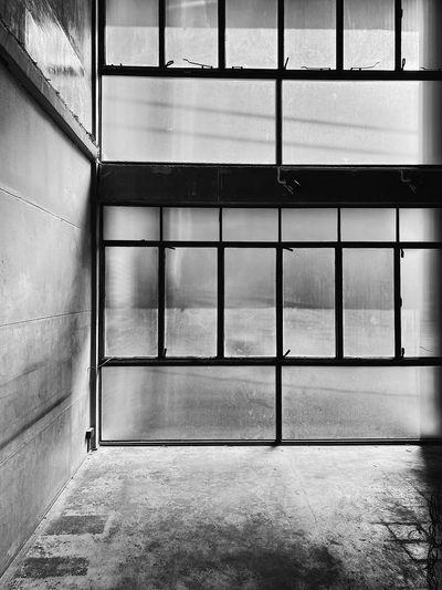 Empty glass window of building