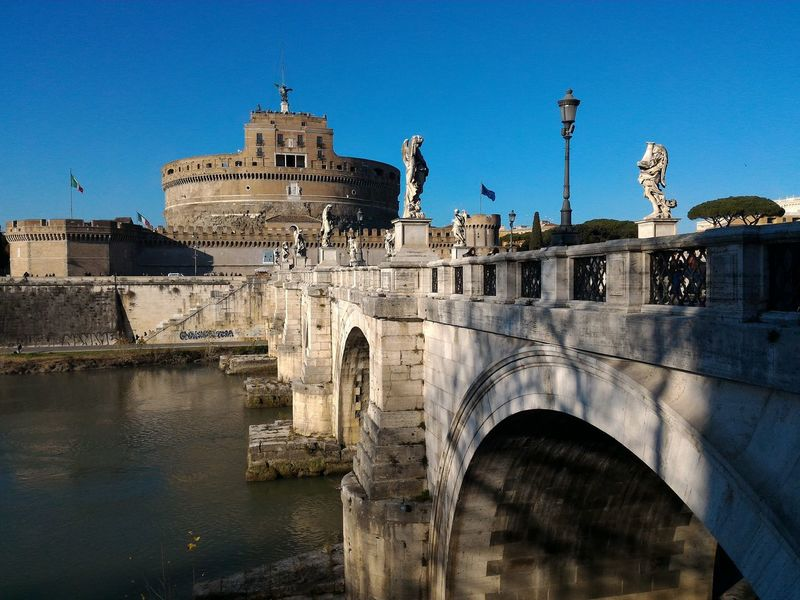 Bridge Tiber River Rome Italy🇮🇹 Saint Angel Castle Your Ticket To Europe Clear Sky Travel Destinations Day City Outdoors No People Travel Tourism