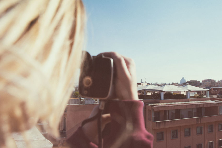 Analogue Photography Blonde Camera City Close-up Color Effect Day Dome Effect Lifestyles Old One Person Outdoors Panorama Real People Retro Styled Rome Shooting Skyline St Peter Super 8 Technology Vintage Woman