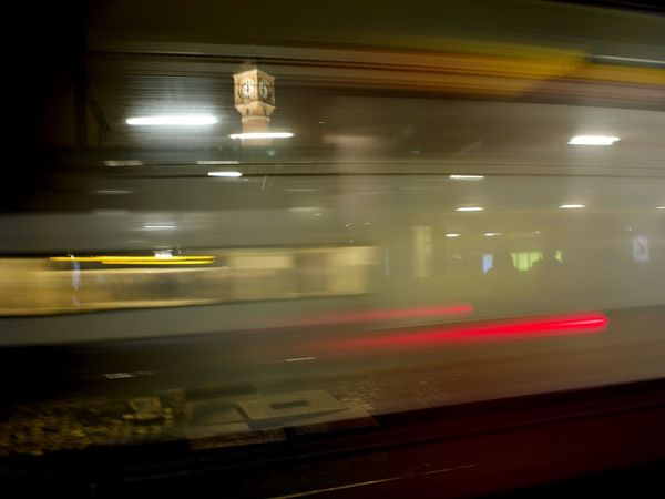 Blurred Motion Check This Out Illuminated Indoors  Long Long Exposure Motion Night No People Public Transportation Railroad Station Platform Speed Subway Train Taking Photos Train - Vehicle Transportation