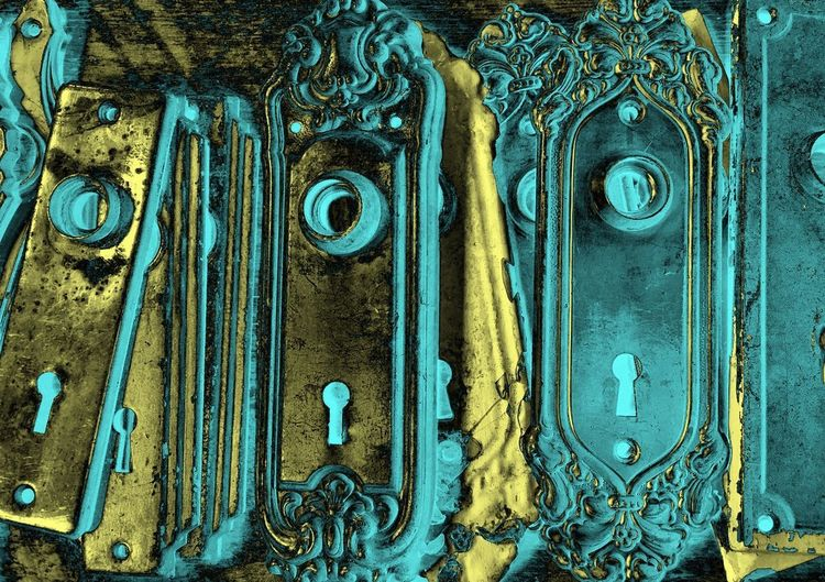 Abstract Photography Gold Teal Abstract Abstract Art Backgrounds Close-up Door Full Frame Gold Colored Hardware Low Angle View Metal No People Ornate Pattern Teal Color Textured