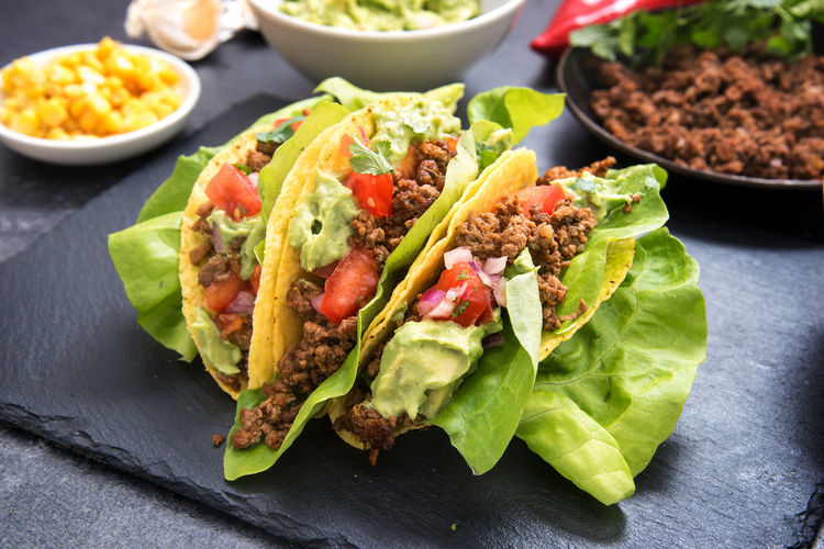 Close-Up Of Tacos On Table