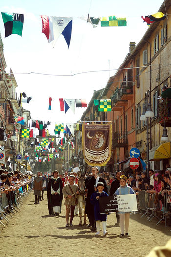 Historical parade Holiday Italia Architecture Building Exterior Built Structure Bunting Campagnanodiroma City Flag Flags Historical Parade Holiday - Event Large Group Of People Lazio Men Outdoors People Real People Travel Destinaton Women