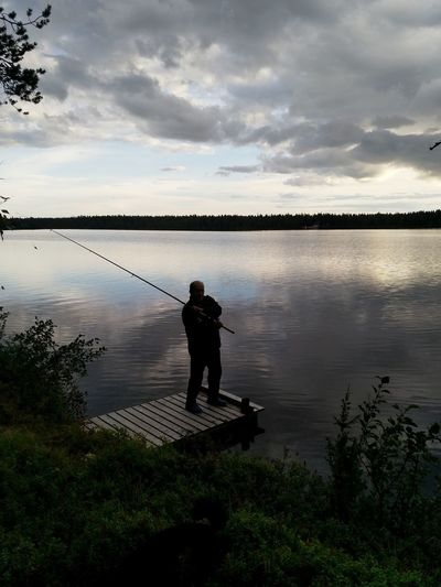 Fishing Lake Water Full Length Standing Men Lake Reflection Fishing Rod Fisherman Fishing Equipment