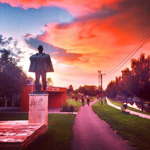 The Kubikus Park with colorful stormclouds - we got too muvh rain in the last days with floods everywhere but it was amazing Mik Ic_skies Instagrammers Igworldclub Landscape Kalocsa