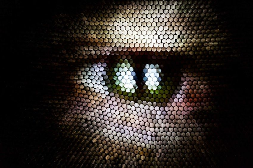 Pattern Pixelated Perspectives On People Human Eye Abstract Illuminated Multi Colored Circles Eye Strawcamera Straws Textured