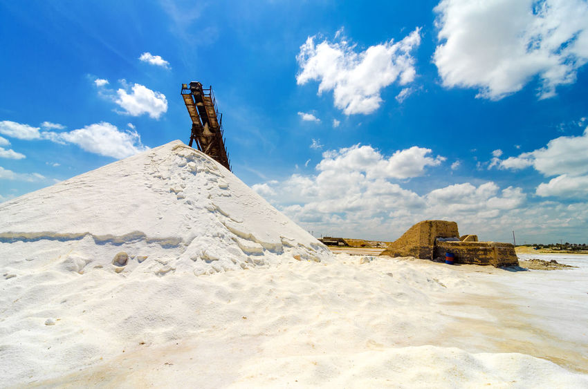 Salt production in Manaure in La Guajira, Colombia Blue Blue Sky Clouds Colombia Day Factory Food Hill Industrial Industry Laguajira Mana Mine Mineral Mining Outdoors Production Refinery Riohacha Salt Seasoning Sky Town White Work