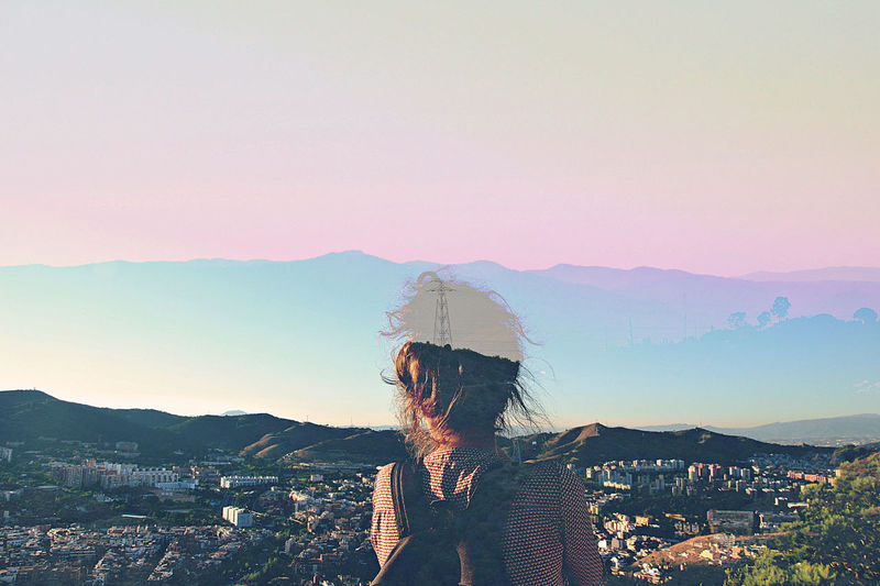 pink. Sunset Mountain People Adult Sky Outdoors Adults Only One Person Nature Environment Summertime Power In Nature Paysages Double Exposure Portrait Horizon Over Water Fragility Young Adult Barcelona Bunkers Del Carmel Communication Technology Day Only Men Close-up The Traveler - 2018 EyeEm Awards