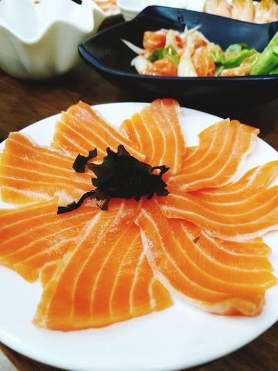 fresh salmon Japanese food Sashimi  Plate Seafood SLICE Citrus Fruit Fish Fruit Close-up Food And Drink Salmon Sushi Dish