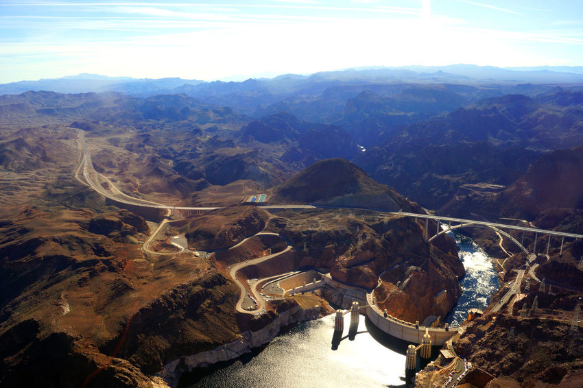 Aerial View Architecture Artificial Beauty In Nature Construction Day Dessert Helicopter View  High Angle View Hoover Dam Horizon Over Land Landscape Mountain Mountain Range No People Outdoors Panoramic View Tranquility Travel Destinations Wildlife & Nature Flying High Flying High Flying High