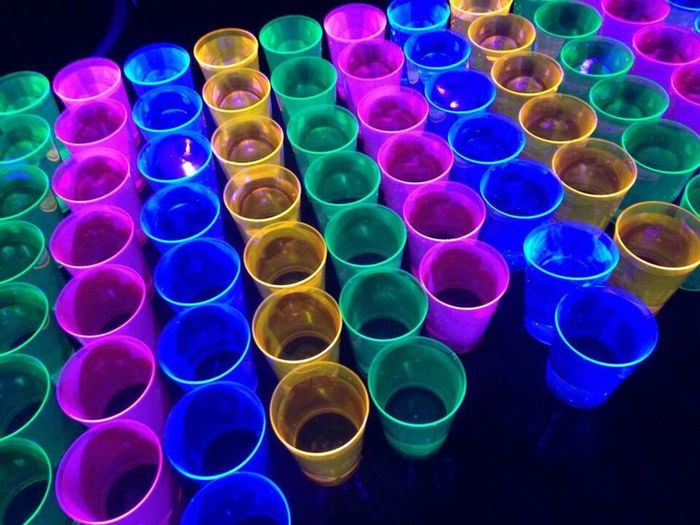 Colours Colourful Fluorescent Drinks Cups The OO Mission Flashy Lights Flashy Fluo  Blacklight Drinks! Water