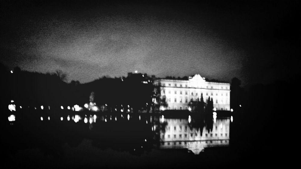 Water Reflections at Salzburg Schloss Leopoldskron Monochrome