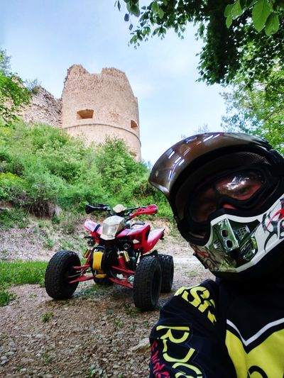 Visiting the old world Castle Medieval EyeEmNewHere Headwear Sky Motocross Motorsport Motorized Vehicle Riding Off-road Vehicle Protective Sportswear Crash Helmet
