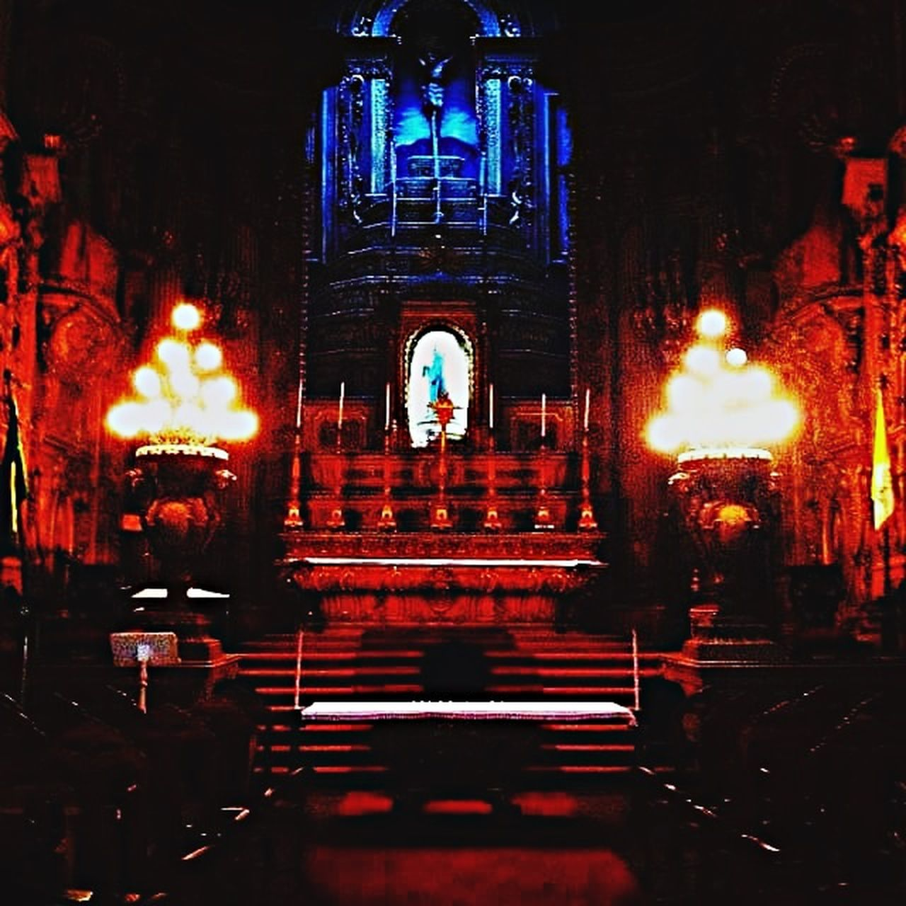 spirituality, religion, place of worship, illuminated, pew, indoors, no people, statue, built structure, night, architecture, sculpture, altar