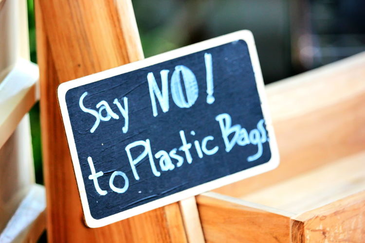 Say No To Plastics Say No To Plastic Bags Text Communication Sign Blackboard