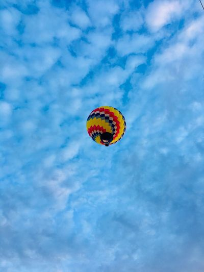 So Beautiful floating overhead. Hot Air Balloon Festival Just Me Loving The Moment IPhone Photography Sky Low Angle View Blue Cloud - Sky Nature Day Adventure Mid-air Outdoors Freedom