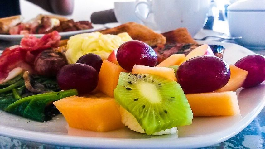 Fruit Food Healthy Eating Food And Drink Kiwi - Fruit Variation Freshness Close-up SLICE Kiwi Fruit Salad Grapes Melon Spinach Mushrooms Toasted Bread Breakfast Plate Eggs... Sausage