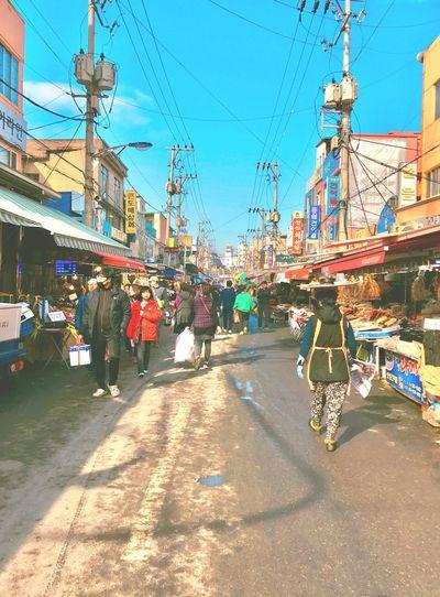 People walking through the traditional market. Morning Real People Market Street Pohang