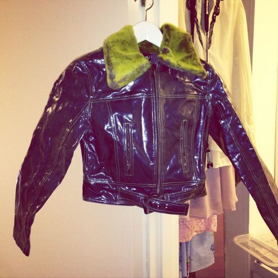 Plastic jeans jacket with green fake fur.. I used this in late 90's haha.. Its starting to dry