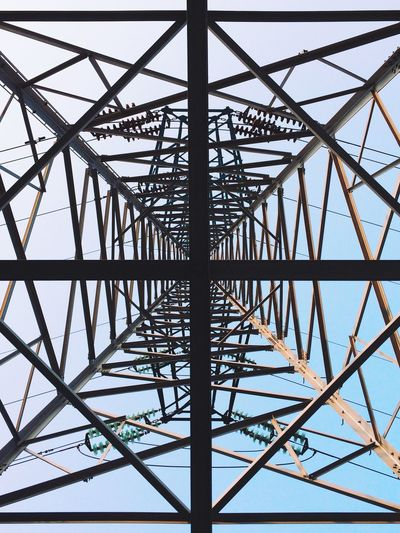 Directly below shot of electricity pylon against clear sky