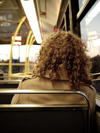 On the bus Irish Ginger Curly Hair On The Bus Commute Bus Transportation Vehicle Interior Mode Of Transportation Public Transportation Real People Rear View One Person Window Journey Travel