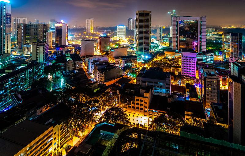 Kuala lumpur lit up at night