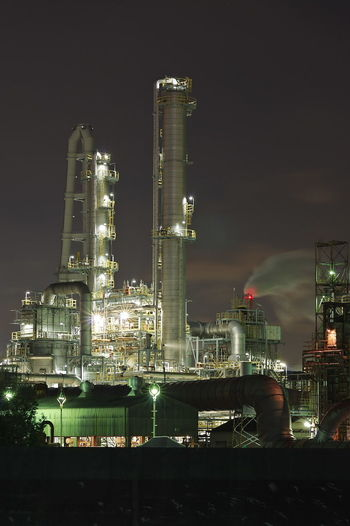 工場夜景 Factory Night Industry Business Finance And Industry Illuminated Building Exterior No People