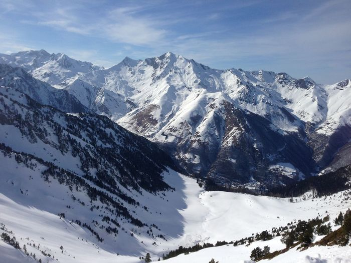 Snow cover on pyrenees mountain between spain and france