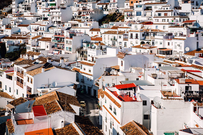 Charming little white village of Mijas. Costa del Sol, Andalusia. Spain Andalucía Benalmádena, Malaga, Spain Charming Village Costa Del Sol Crowded Houses Europe Hillside Houses Landmark Landscape Malaga Mijas Residential Building Rofftop Scenery SPAIN Spanish Sunny Day Town TOWNSCAPE Travel Destinations Typical Houses Village White Houses Whitewashed Houses