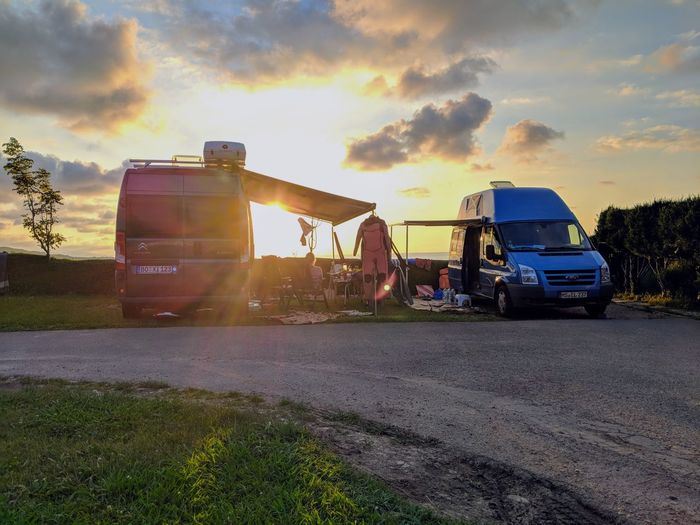 when the sun goes down Vanlife Roadtrippin' Travelmate Aftersurfin Summer Road Tripping Sunset Sky