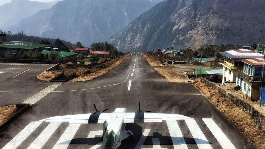 waiting for take off Lukla Runway Nepal Shortestrunway Mountain EyeEm Selects Adventures In The City Flights Dangerousrunwayintheworld Mountain