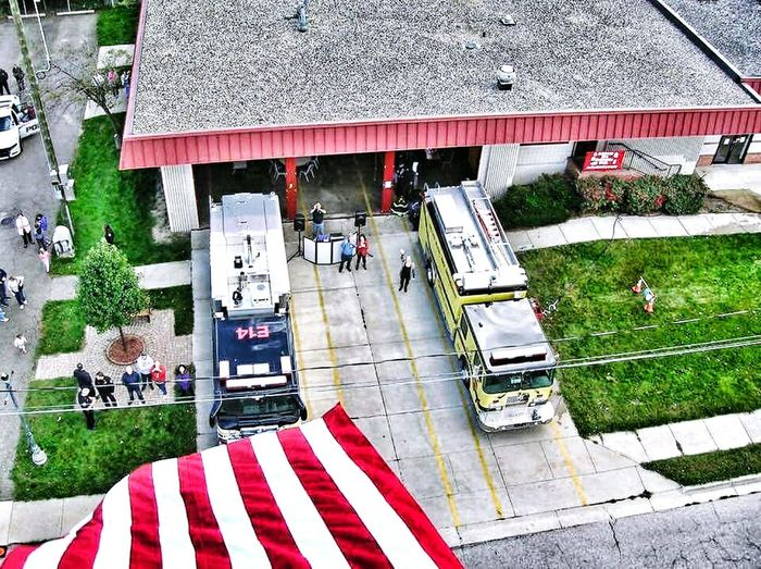 65 feet above the house, ladder goes to 100ft. High Angle View The Calling Always Ready No Days Off Service Honor Firefighter Open House City Family Ladder Arial Apparatus