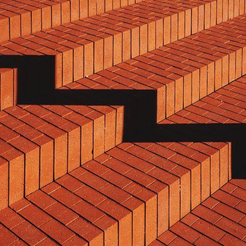 Full frame shot of red brick steps