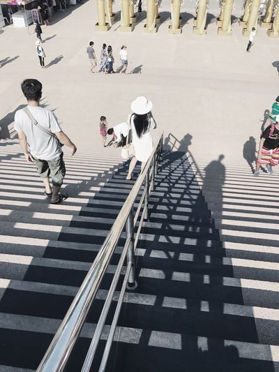 Stairway Real People Walking Shadow High Angle View Lifestyles Street Sunlight Outdoors Men Women People EyeEm Taksina S. IPhone7Plus Photo By IPhone7plus Thailand Travel VSCO Cam VSCO